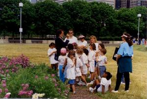Chapman and children in Grant Park