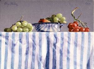 Grapes and Persimmon in a Silver Dish with Stripes